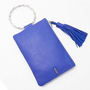 THACKER Leather Clutch with Twisted Ring Handle